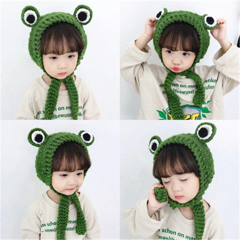Cute Wool Earmuffs Children Winter Warmer Cartoon Frog Retro Thick Knit Lace Bag Earmuffs Kids Lovely Animal Eyes Lace Cap Girls