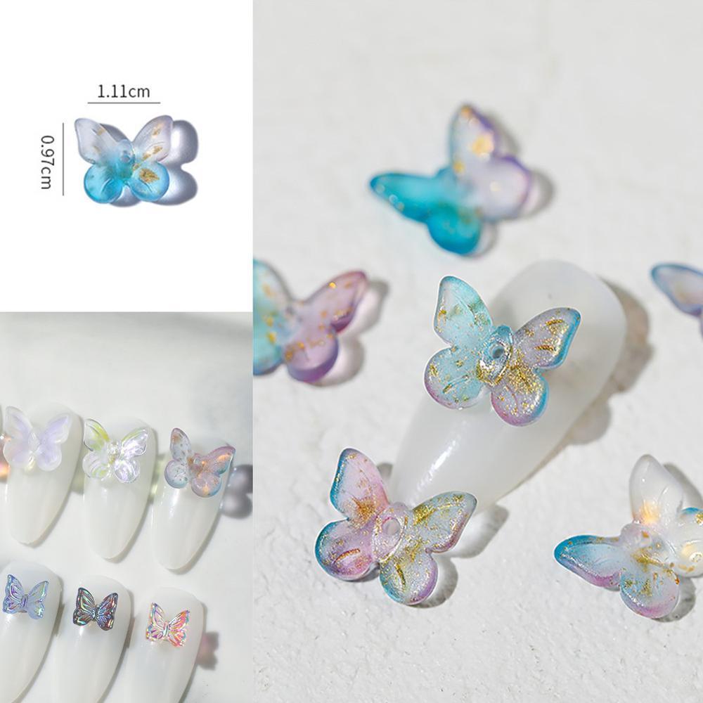 6 шт./упаковка, декоративные гвоздики для ногтей в виде бабочек