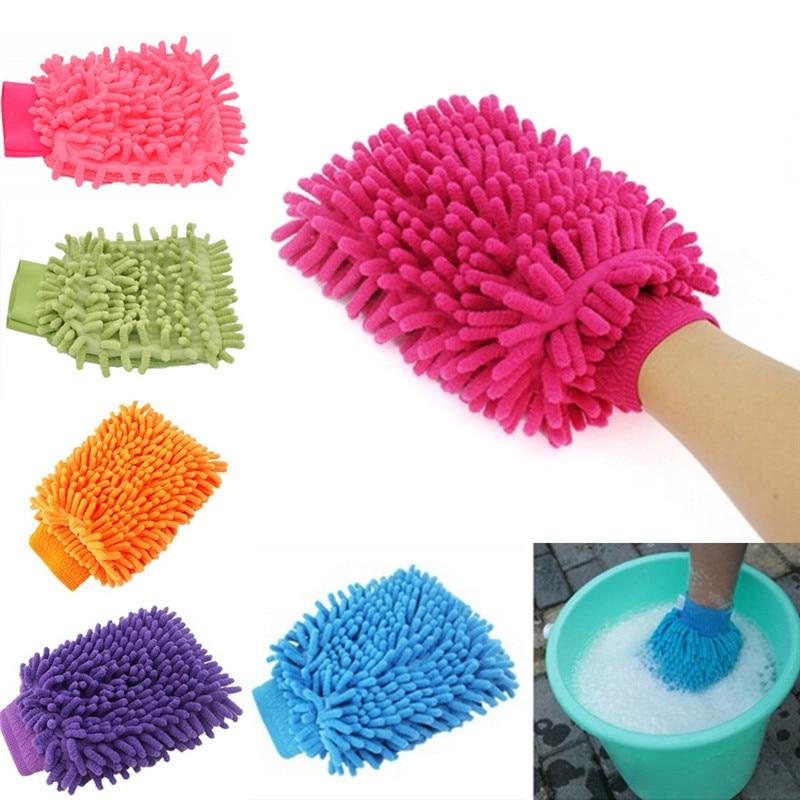 Горячая Распродажа 2 в 1 ультратонкая волоконная перчатка для мытья машины из синели и микрофибры, Мягкая сетчатая перчатка без царапин для ...