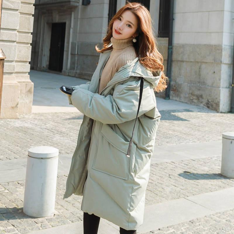 Пуховая куртка с хлопковой подкладкой для женщин размера плюс, Зимняя женская куртка с капюшоном, женские зимние пальто, парки, плотное теплое пальто для женщин C5950 - 2