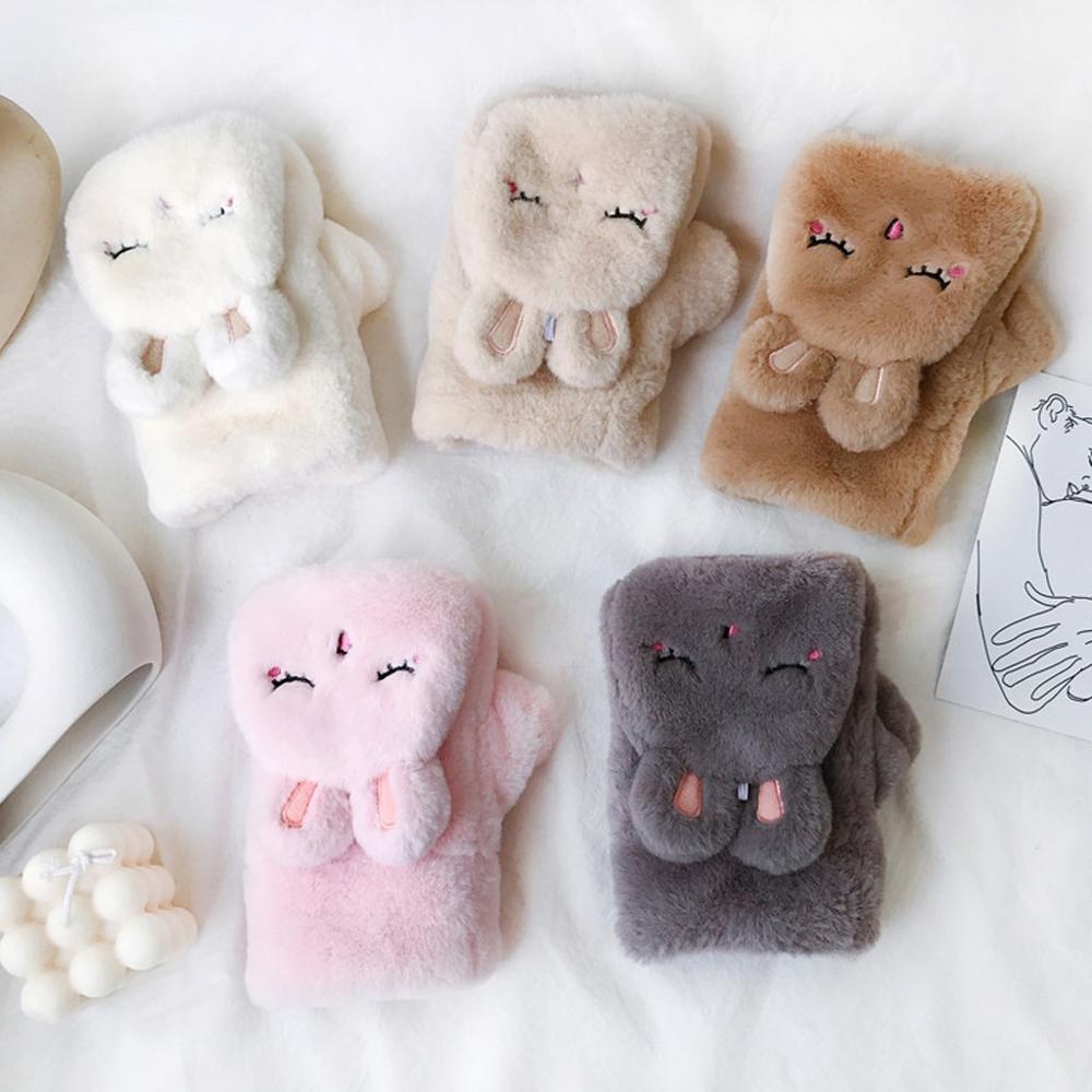 Women Winter Lovely Warm Flip Over Thickening Rabbit Plush Gloves Fashion NEW 2019 Pink Gloves