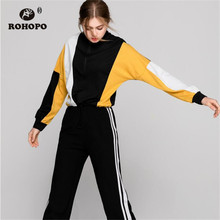 ROHOPO Patchaork Women Crop Hoodies Yellow Red Female Pullover Top Zipper Sweatshirt Preppy Outwear #8937
