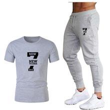 Волна рисунок в виде фирменного логотипа Мужская футболка с короткими рукавами модная повседневная свободная футболка + спортивные штаны для бега 2019 новая мужская одежда