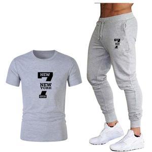 Image 1 - Tide brand LOGO printing mens short sleeved T shirt fashion casual loose T shirt + jogging sports pants 2019 new mens clothing