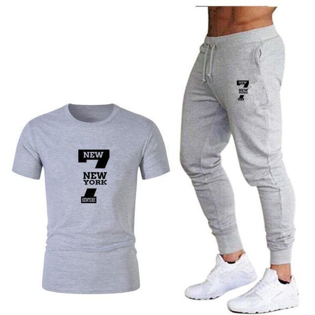 Tide brand LOGO printing mens short sleeved T shirt fashion casual loose T shirt + jogging sports pants 2019 new mens clothing