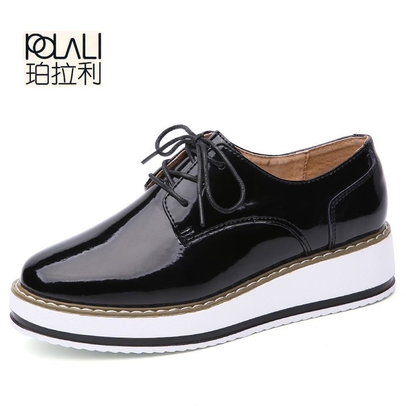 POLALI Women Platform Oxfords Brogue Flats  Patent Leather Lace Up Pointed Toe Brand Female Footwear Shoes for women Creepers