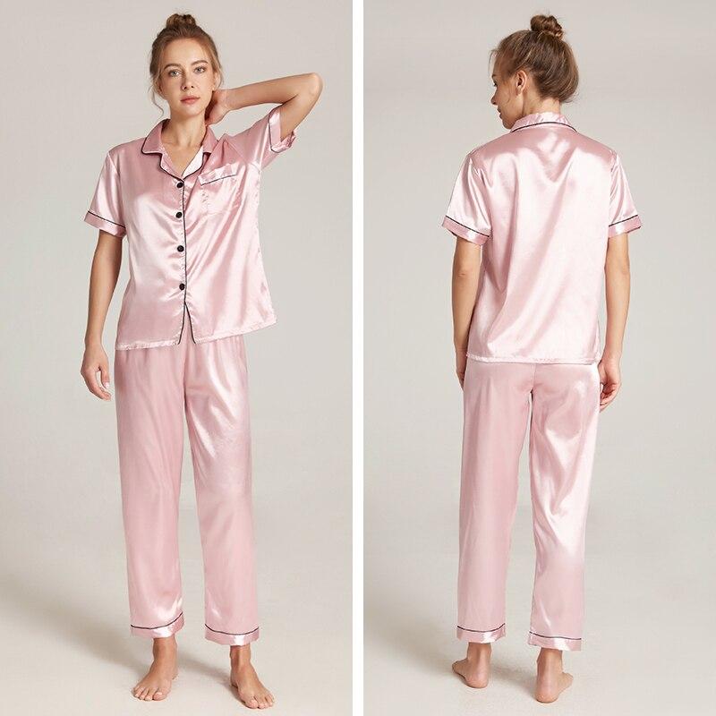 Женская пижама с коротким рукавом комплекты одежды размера плюс шелковые женские пижамы для женщин с длинным рукавом, одежда для сна, домаш...