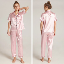 Conjuntos de pijamas femininos mais tamanho de seda pijamas femininos para pijamas femininos roupas de casa verão frete grátis bannirou
