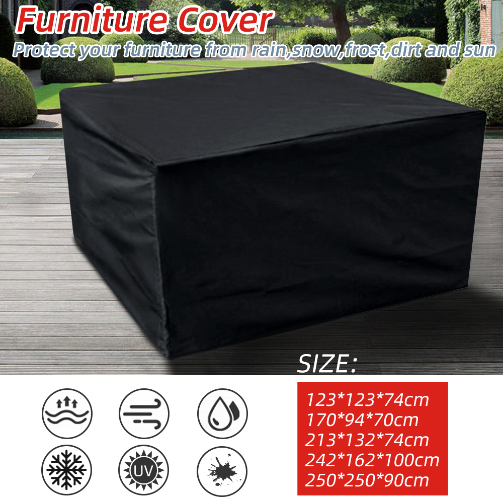 5 tamaños impermeables al aire libre muebles de jardín y patio cubre la lluvia nieve silla cubre para sofá Mesa silla funda protectora a prueba de polvo