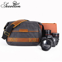 цена на CamDress retro Waterproof Batik Canvas camera bag sling Outdoor Scratch-proof Camera bag single shoulder Wear-resistant dslr bag