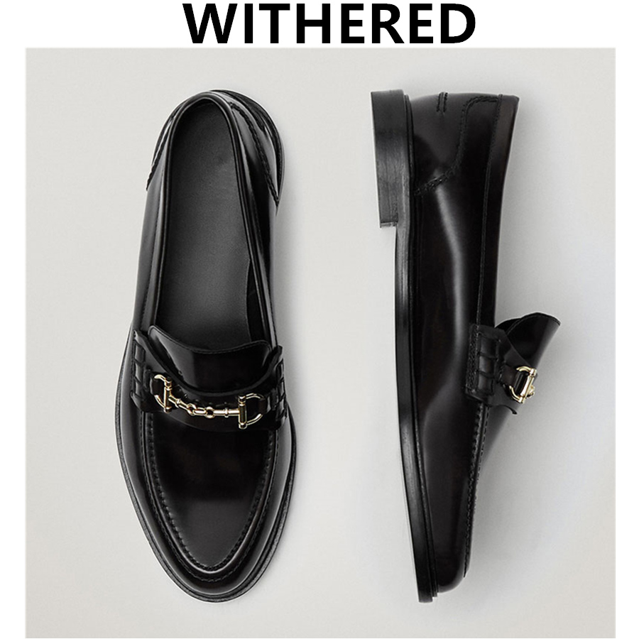 Withered New Egnland Style Fashion Vintage Metal ring buckle Genuine Leather Slip-On Loafers Women Shoes Woman Flat Shoes Women