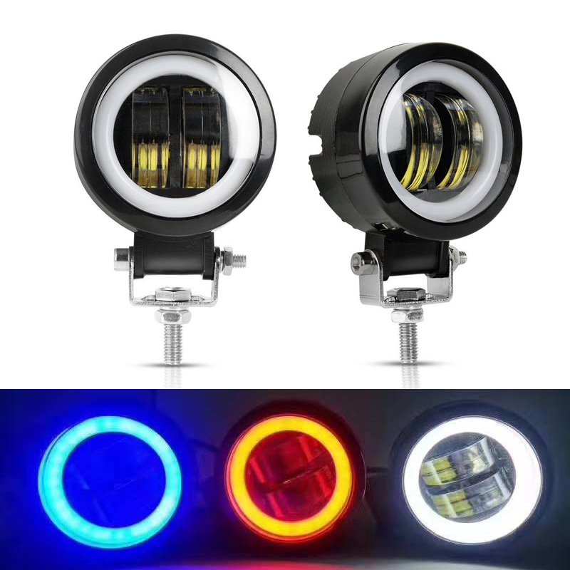 3 Color Round Square LED Angel Eyes Light Bar Spot Light For Motorcycle Led Work Lightfor Driving Offroad Car Boat Truck 4x4 SUV