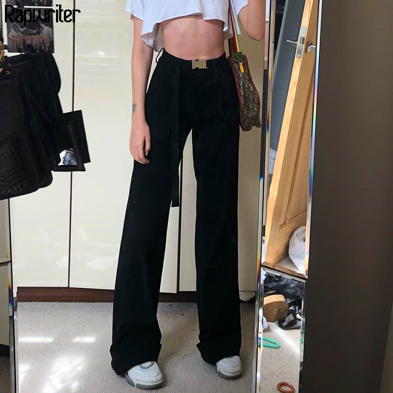Rapwriter Streetwear Loose Black Sashes Straight Pant Women 2020 Hot Spring High Waist Trousers Long Pant Buttons Capris Pocket