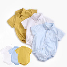 0-36M Newborn Rompers Baby Boy Short Sleeves Lapel Formal Gentleman Shirt Infant Jumpsuit for Birthday Party Body Lapel Rompers(China)
