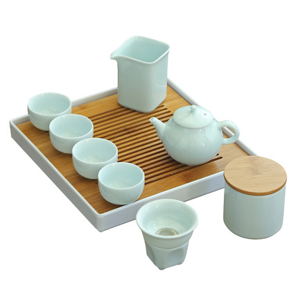 Ceramic Japanese Style Tea Set Household Simple Office Teapot Complete Set Zen Drink Tea Cup Tray Kung Fu Black Tea Teaware