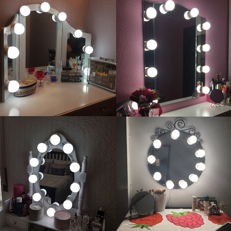 Professional Vanity Mirror Lights Table Set 10Bulb Beauty Dressing Room Mirror Lights Kit 2A LED Bulb Glamour Makeup Light