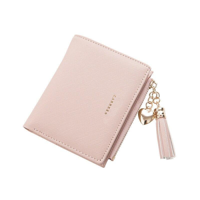 Женский кошелек с кисточками, Маленький милый кошелек для женщин, короткие кожаные женские кошельки, кошельки на молнии, портмоне, женский клатч