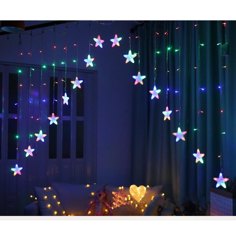 3M 16 LED Stars Curtain String Lights Christmas Fairy Lights Garland Wedding Home Party Birthday Garland Romantic Decor EU Lamp
