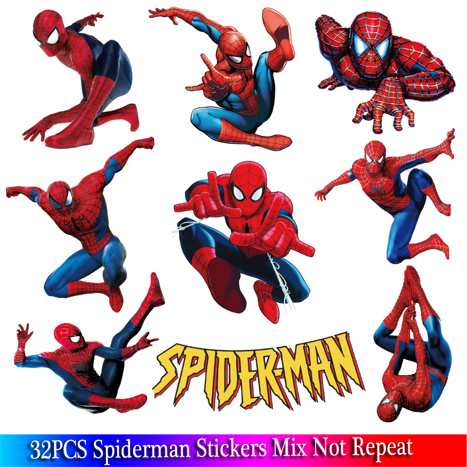 32PCS Spiderman Stickers Pack Marvel Super Hero Stickers For Laptop Fridge Bicycle Phone Guitar Cartoon Anime Sticker