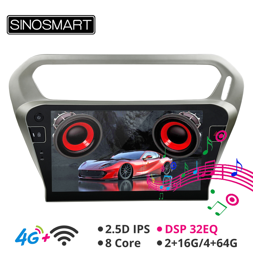 Sinosmart 2.5D IPS/QLED Screen Android 8.1 Car <font><b>GPS</b></font> Navigation Radio <font><b>for</b></font> <font><b>Peugeot</b></font> <font><b>301</b></font> 2013-2016 image