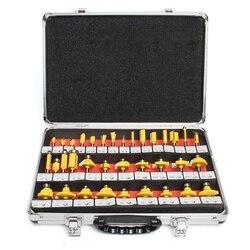35pcs 8 millimetri di Legno Fresa Gambo Fresatura Router Bit Set di Tungsteno Carburo di Lavorazione Del Legno Fresa di Taglio Rotativo Tool Kit