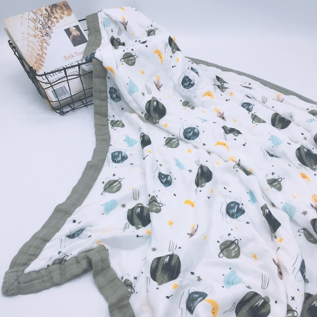4 Layer Cartoon Bamboo Muslin Tree Baby Muslin Blanket Quilt Swaddle Better Than Anais Baby/bamboo Blanket Infant Wrap