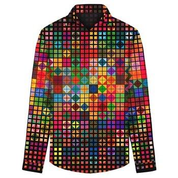 Mens Shirts 3D Colorful Lattice Long Sleeve Shirts Male Casual Fashion Print Single Breasted Mens Shirts Tops Polyester цена 2017