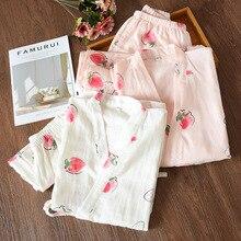 100% cotton  Woman Pajamas Cotton Women Clothes Sets Night Suit For 1266