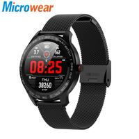 Microwear L9 ECG PPG Heart Rate O2 Monitor Full Round Touch Screen Stainless Steel IP68 Facebook Display Business Smart Watch