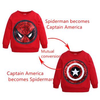 Child superhero Spiderman Captain America Shirt Cosplay Costumes Spiderman Face-changing Captain America Kids Boys Sweatshirts tanie i dobre opinie FMZXG Film i TELEWIZJA Unisex Dzieci Zestawy Poliester Kostiumy children 2-10 year old Autumn And Winter