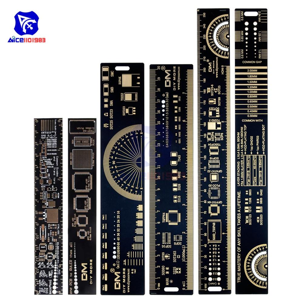 Diymore 1 conjunto 3 tipo 15cm 20cm 25cm pwb régua multi-funcional ferramenta de medição resistor chip capacitor ic smd transistor de diodo