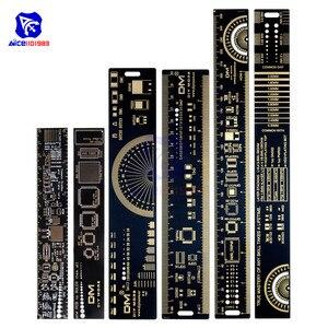 diymore 1 Set 3 Type 15cm 20cm 25cm PCB Ruler Multi-functional Measuring Tool Resistor Capacitor Chip IC SMD Diode Transistor(China)