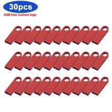30pcs/lot Metal Custom Logo USB Flash Drive 64GB 8gb Pendrive 128gb 32GB 2.0 Pen Drive Metal Memory Stick Usb for Photography