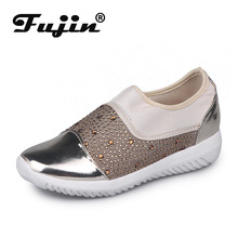 Fujin Large Flat-bottomed Small White Shoes Women Spring and Autumn Rhinestone Set Foot Round Head Casual