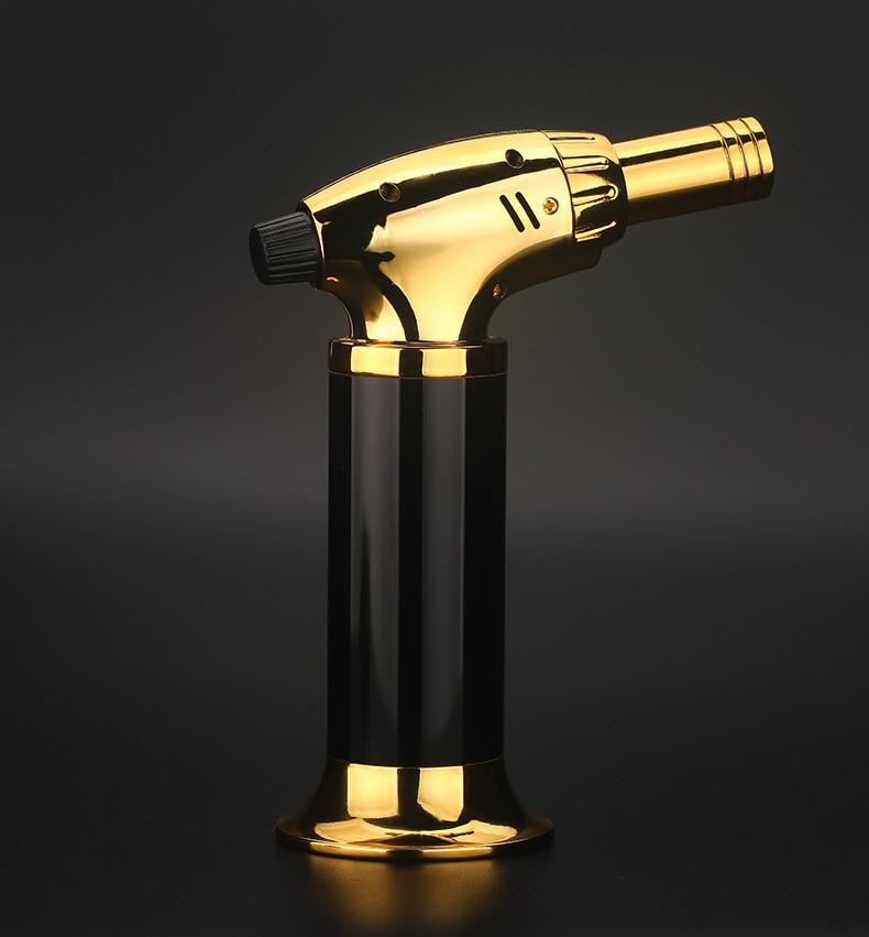 Free Shipping Golden Inflatable Butane Gas Torch, Welding Torch, Lighter, Kitchen Baking Cigar Moxa Sugar Barbecue Spray Gun