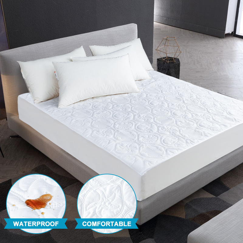Solid Color Quilted Embossed Waterproof Mattress Protector Fitted Sheet Style Cover for Mattress Thick Soft Pad for Bed image