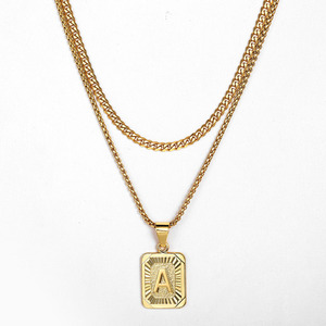 Fashion Gold Color Layered Necklace 26 Letter Charm Necklace Pendants For Women Men Box Curb Cuban Jewelry Gifts