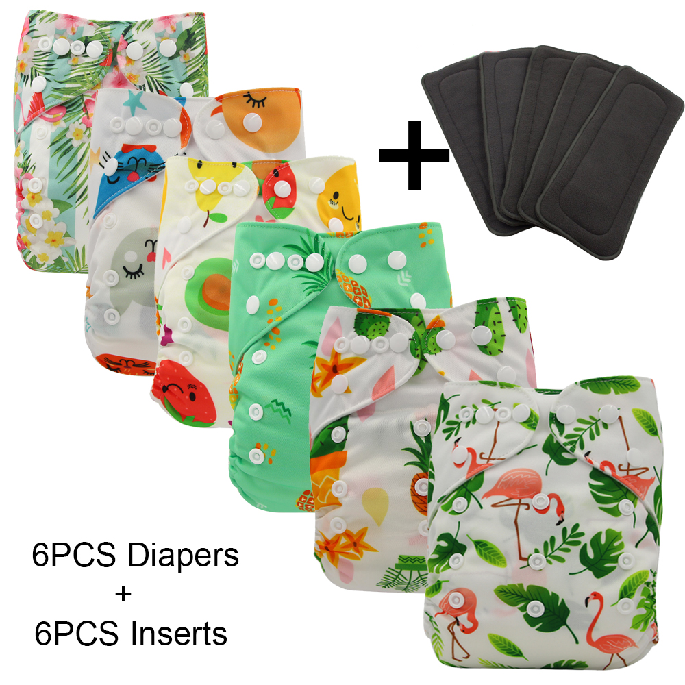Ohbabyka 12PCS/SET Baby Diaper Cover Reusable Waterproof Pocket Cloth Diapers Washable 6pcs Diaper Nappies+6pcs Bamboo Inserts