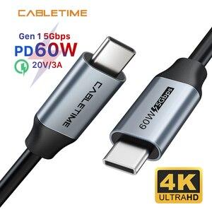 Image 1 - CABLETIME PD 60W USB 3.1 szybkie ładowanie 3A kabel 5 gb/s dla Xiaomi 10 USB C do typu C kabel Macbook Air Samsung S20 N420