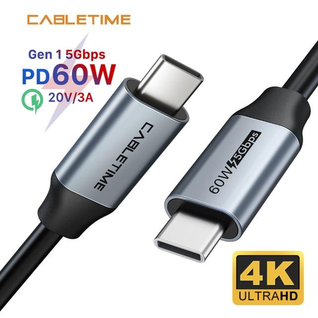 CABLETIME PD 60W USB 3.1 szybkie ładowanie 3A kabel 5 gb/s dla Xiaomi 10 USB C do typu C kabel Macbook Air Samsung S20 N420