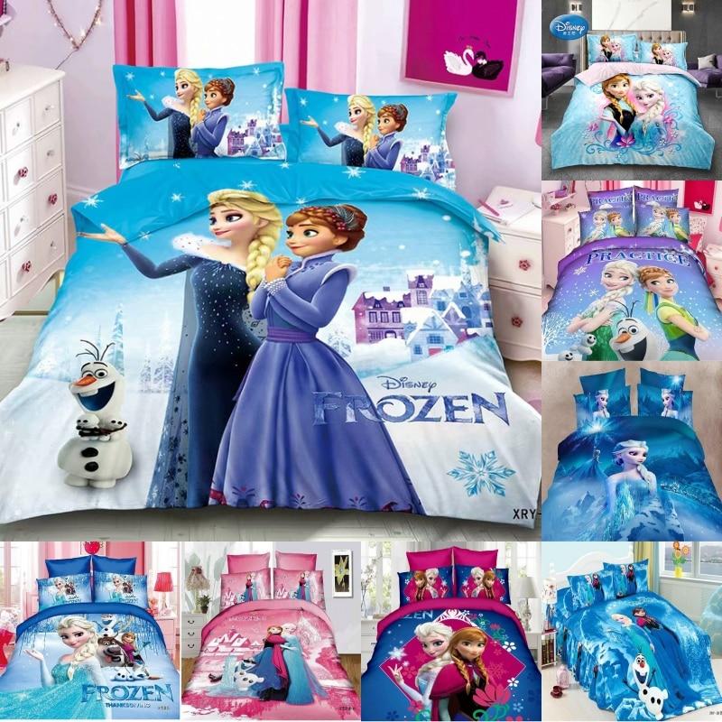 Disney Frozen Princess Elsa Anna 3D Bedding Sets Kids Duvet Cover Bed Sheet Pillowcase For Children Boys Girls Birthday Gift