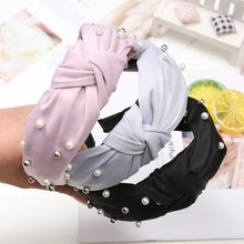 Fashion Wide Side Hairband Lovely Turban Head Band Pearl Hair Accessories Fresh Women Hair Hoop Solid Color Hair Bands 4 Colors