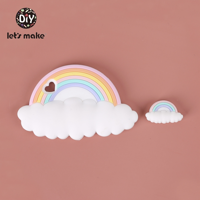 Let's Make Baby Silicone Teethers Beads Toy BPA Free 5pcs Mini Rainbow Clouds Food Grade DIY Accessories Childen's Goods Product