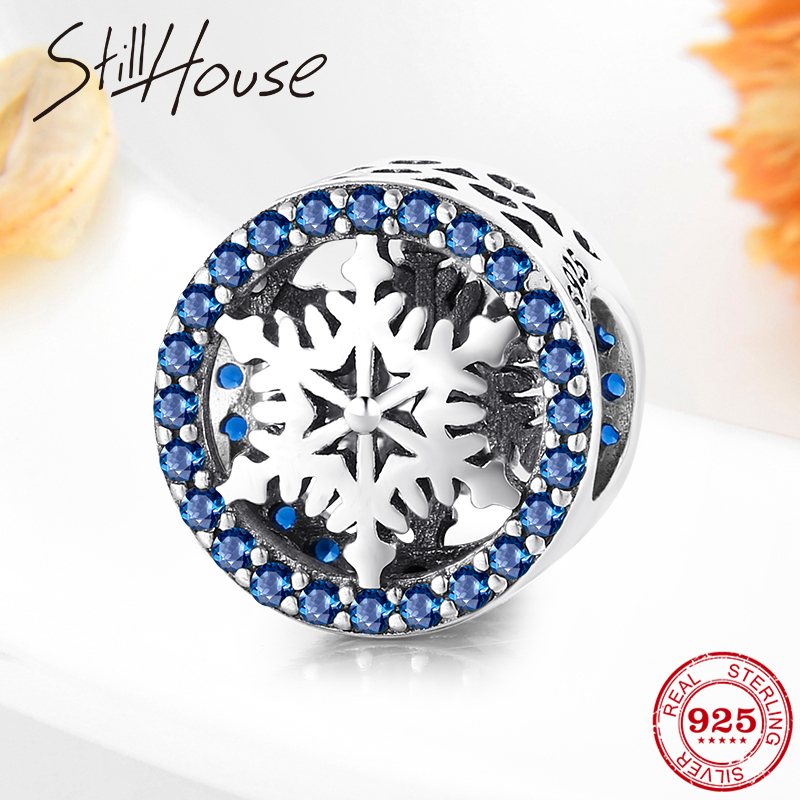 100% Authentic 925 Sterling Silver Snowflake Blue CZ Beads Fit Original Pandora Charm Bracelet Fine Jewelry Making 2019