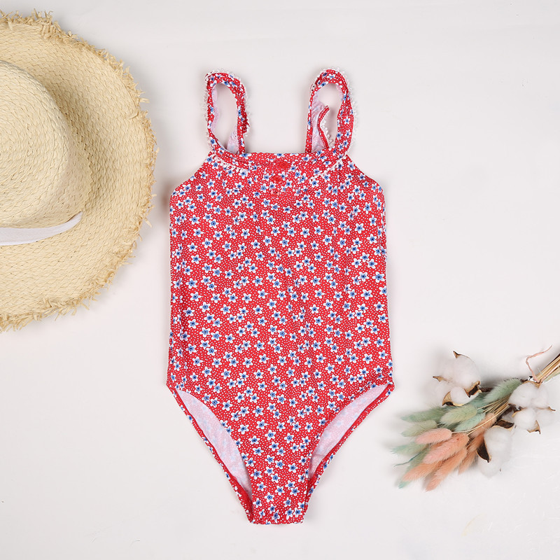 New Style Europe And America Girls Cute Flower One-piece Swimming Suit Lace Split Floral-Print CHILDREN'S Swimsuit Red Floral Cl