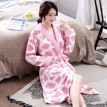 Flannel Bathrobe Women #8217 S Autumn Winter Nightdress Long Style Warm Sleepwear Long Sleeves Thickened Coral Velvet Cow Sleepwear cheap DIDUQIPAO Polyester Print Mid-Calf Robes LuYu200319 Full M L XL Same As The Picture Show Casual Women Home Wear High Quality Velvet Sleepwear