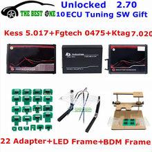 Em linha 2.80 ue vermelho kess v5.017 obd2 + K-TAG ktag v7.020 2.25 + fgtech 0475 + led quadro bdm + 22pcs adaptadores kit de ajuste ecu programador