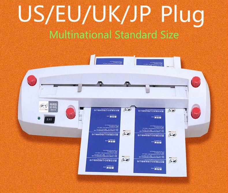 SK316 Otomatis Listrik Kartu Slicer Resah Adjustable Sudut Kanan Multinasional Ukuran Standar Ukuran 300G Kartu Nama Cutter