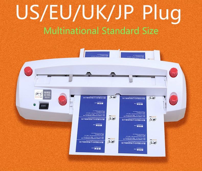SK316 otomatik elektrikli kartvizit dilimleme sürtünme ayarlanabilir dik açı çok uluslu standart boyut 300g isim kartı kesici