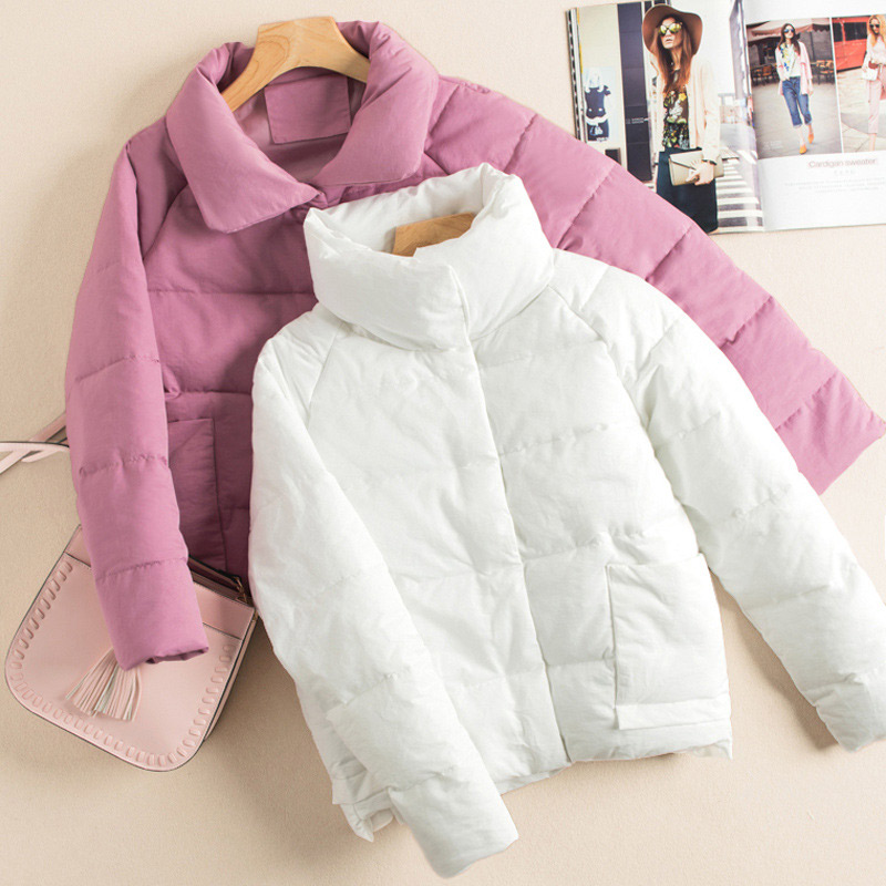 2019 Winter Puffer Coats   Parka   Women Stand Collar Short   Parkas   Female Thicken Warm Solid Students Pockets Windproof Lady Coats